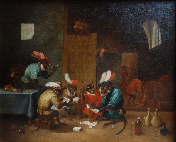Singes jouant aux cartes